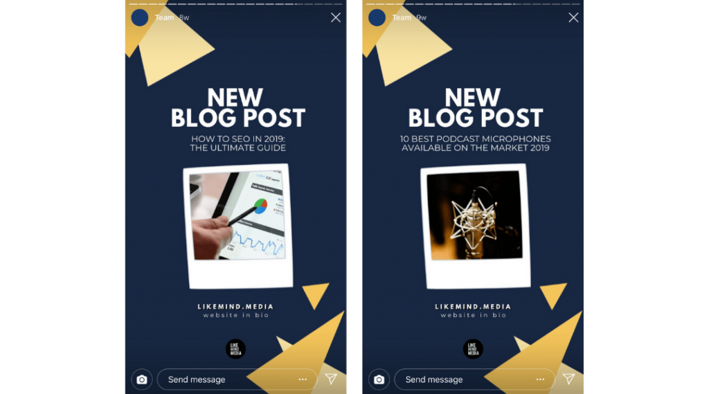 instagram story new blog post example navy blue promotional post