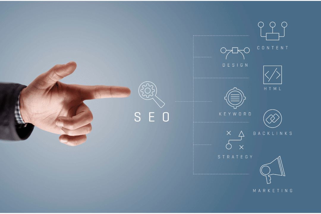 hand pointing to visual representation of keyword research