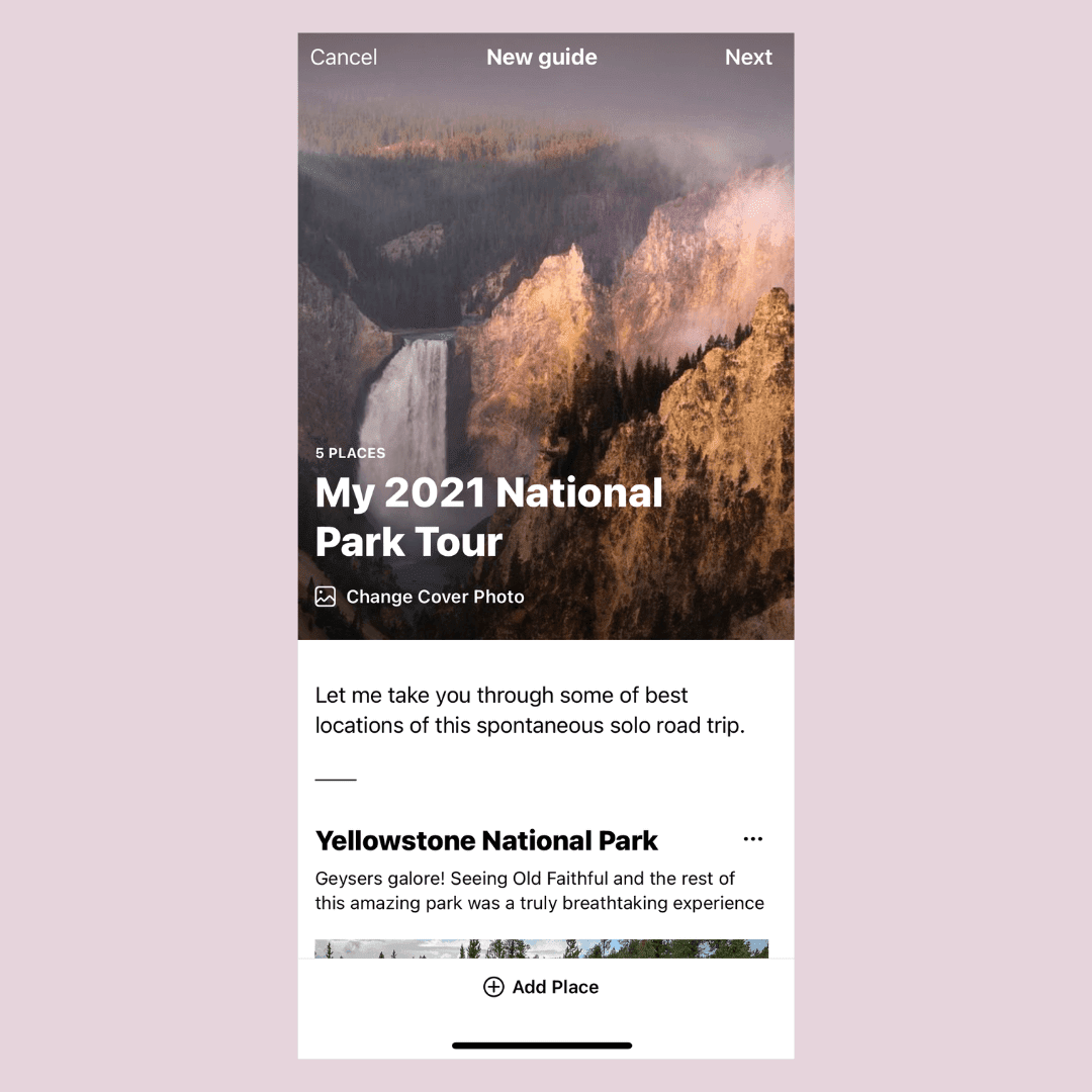 "Instagram Guide entitled ""My 2021 National Park Tour"""