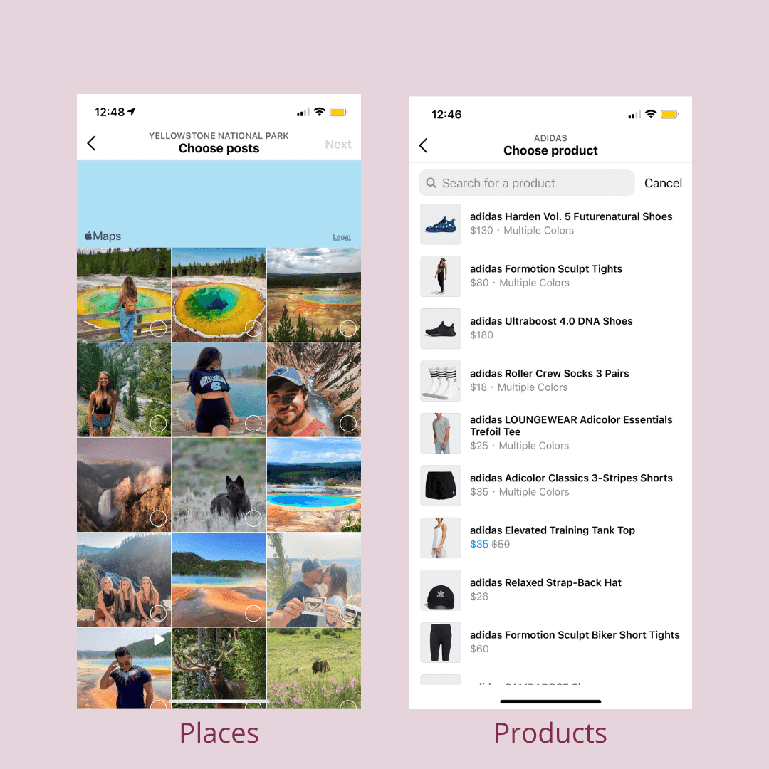 Photo on the left shows selection of Instagram posts taken in one place. Photo on the right shows selection of products from the Adidas Instagram store.