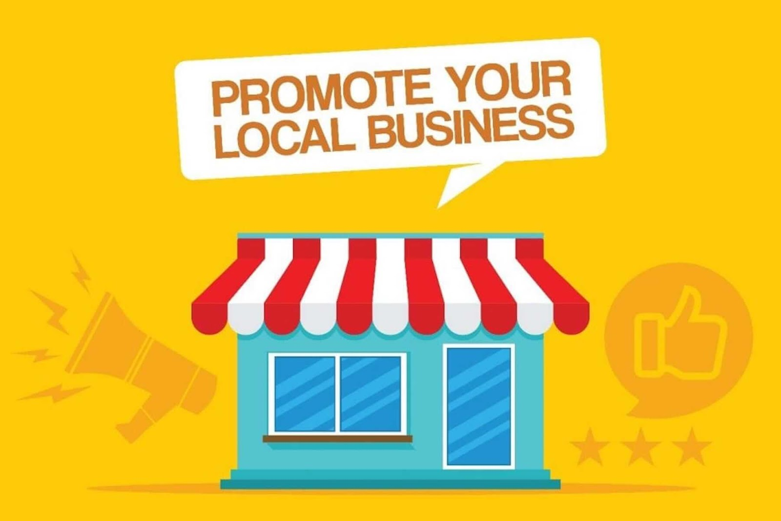 graphic with a storefront with text that reads 'promote your local business