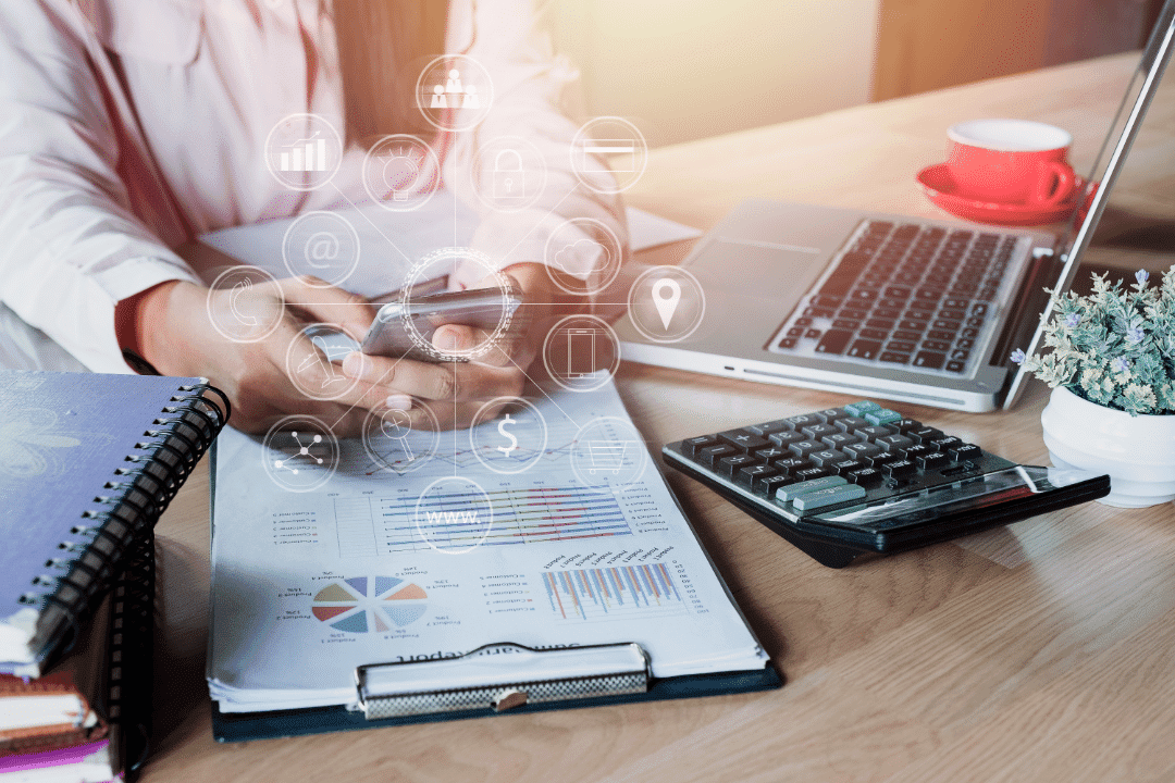 digital rendering of a marketing assessment clipboard laptop calculator