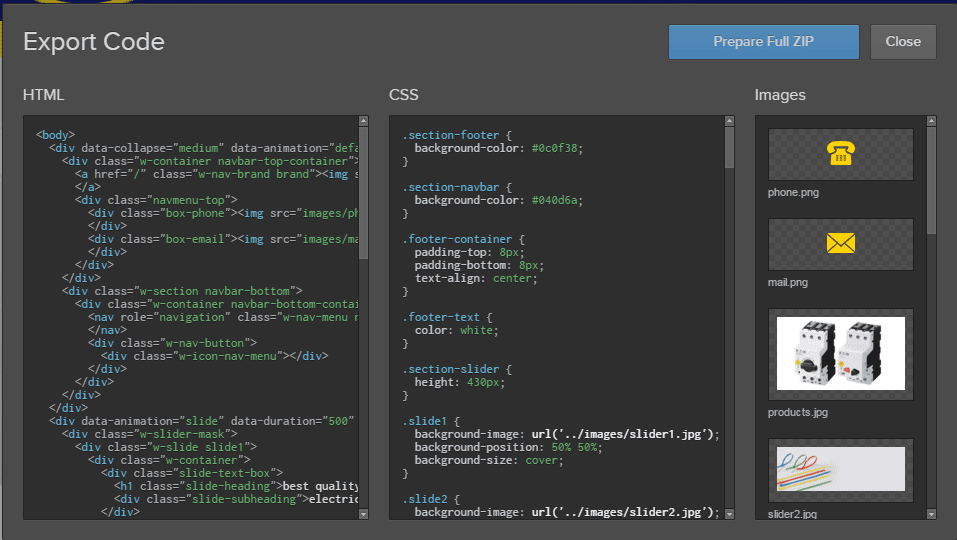 export code webflow