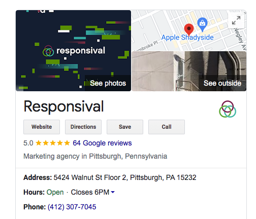 Responsival GBL listing on a SERP