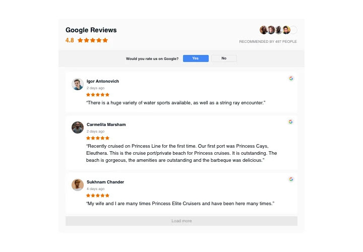 google reviews example