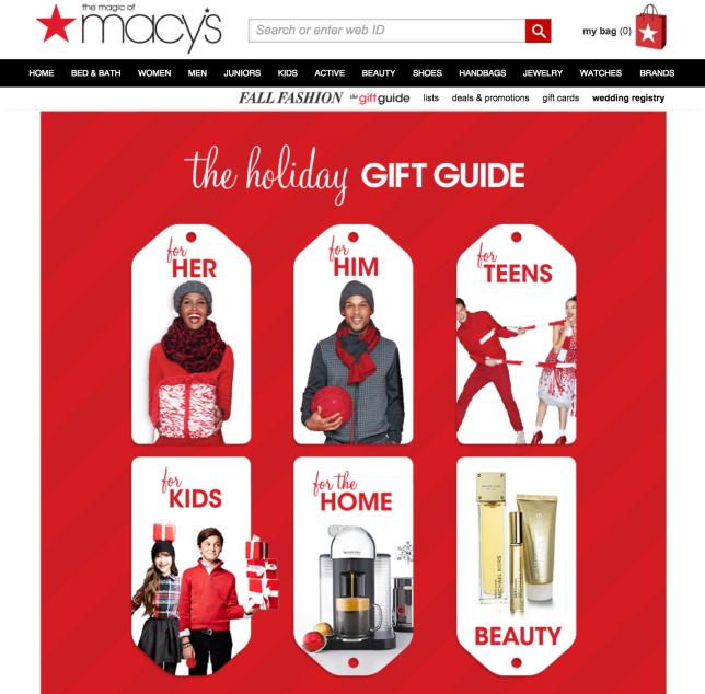 macys holiday gift guide red and white men women children
