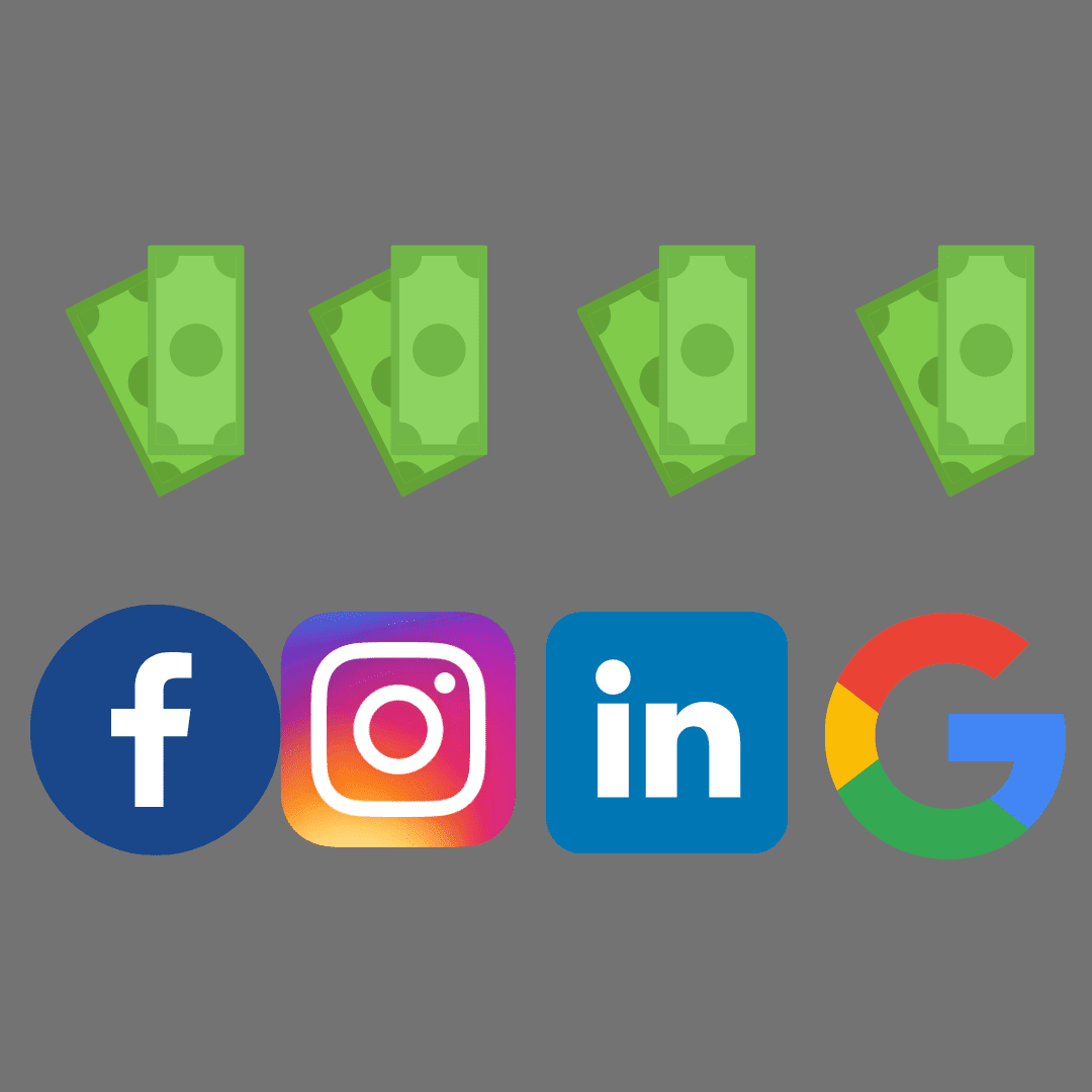 four logos for Facebook, instagram, LinkedIn, and Google with dollar icons above them