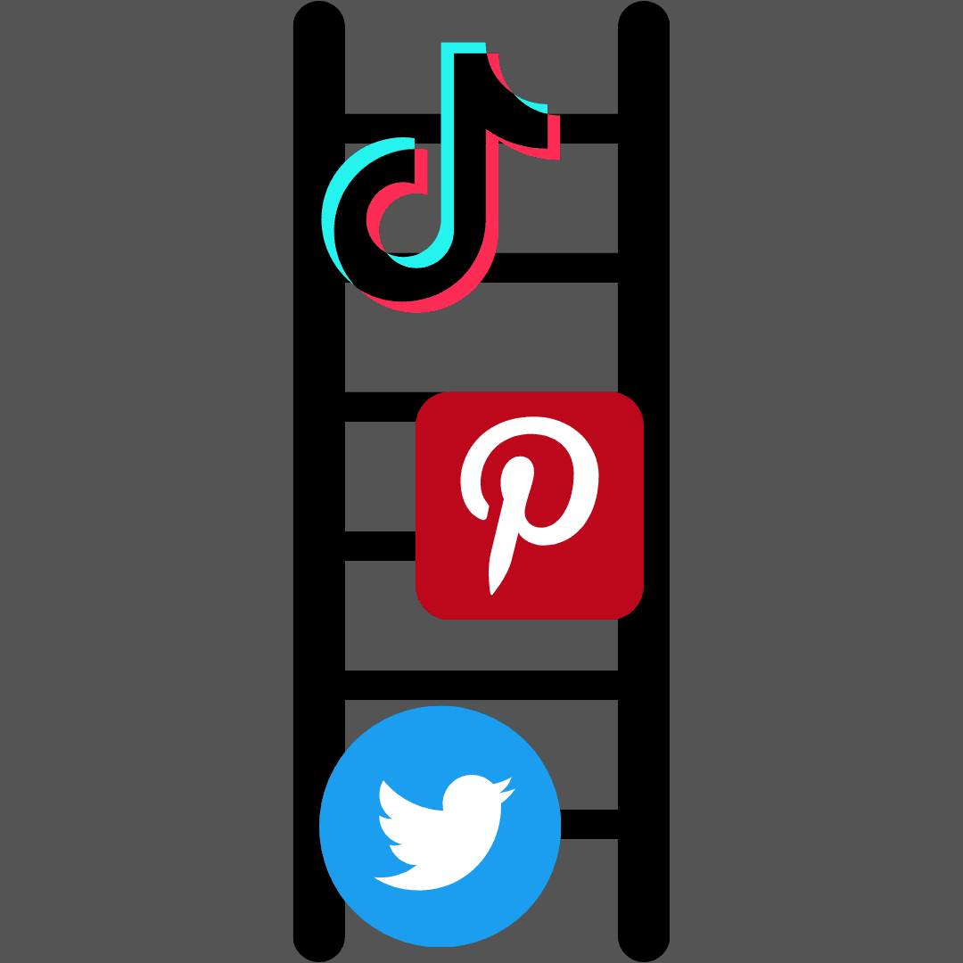 twitter, pinterest, and tik tok logos set up vertically on a ladder