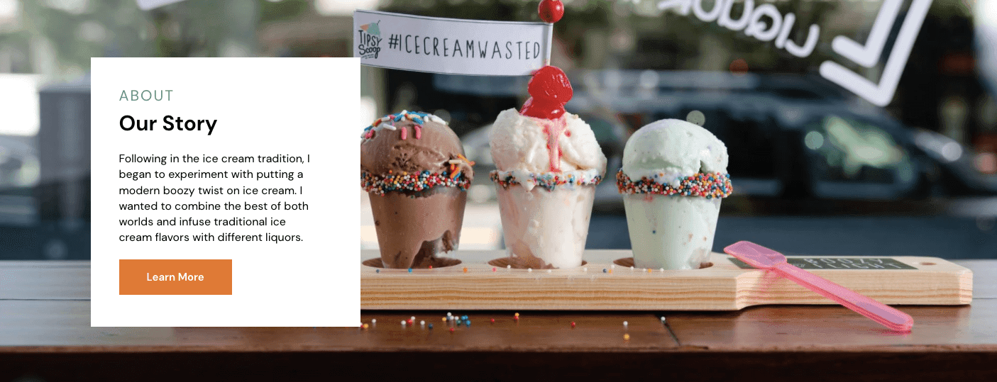 ice cream store website with their About Section sitting above a photo of three cups of ice cream