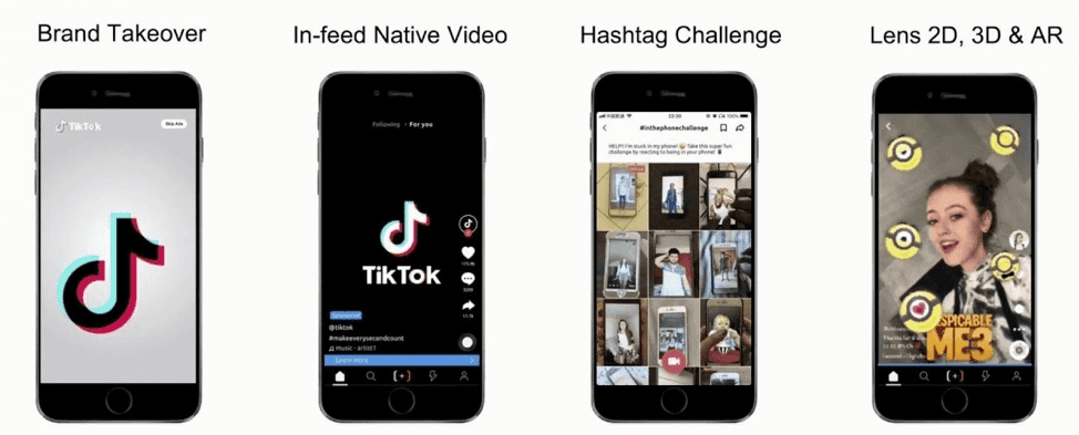four phone screens showing different TikTok ad types: Brand takeover, in-feed native video, hashtag challenge, and lens 2D, 3D, AR