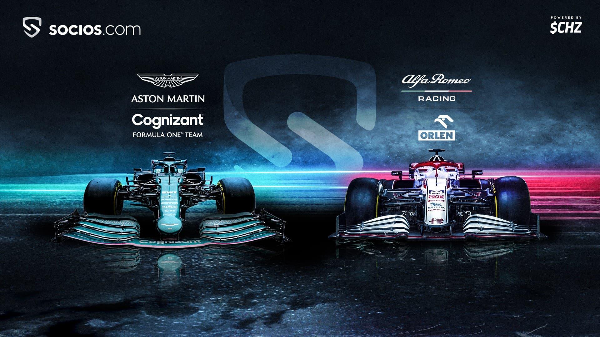 Plataforma da Socios.com anunciando fan tokens da Aston Martin e Alfa Romeo.