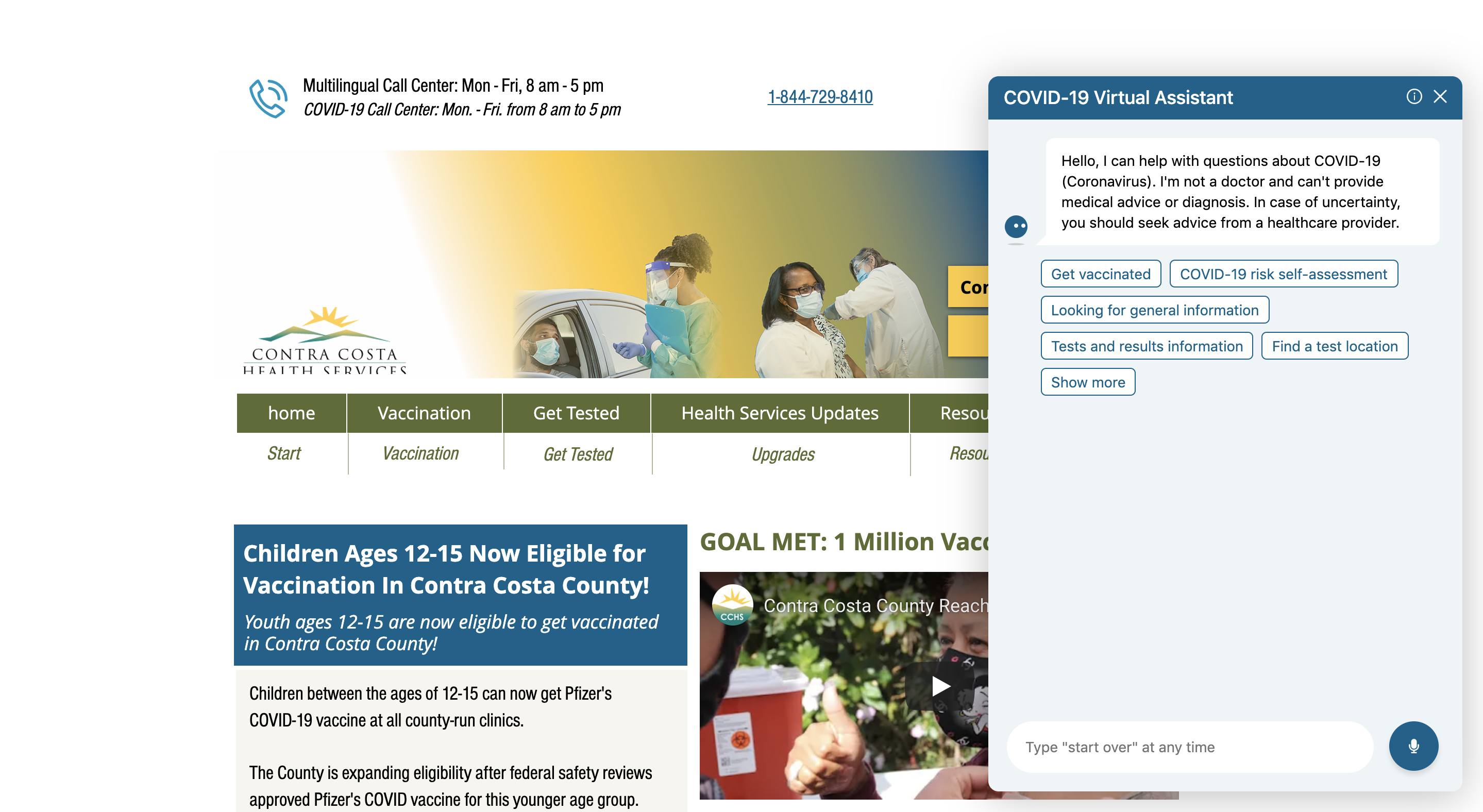 Hyro's Virtual Assistant deployed on Contra Costa Health Services homepage