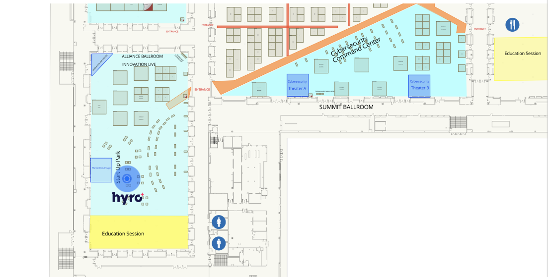 Meet the Hyro team at booth C100-83 - Innovation Live/Startup (marked as a blue dot on the map)