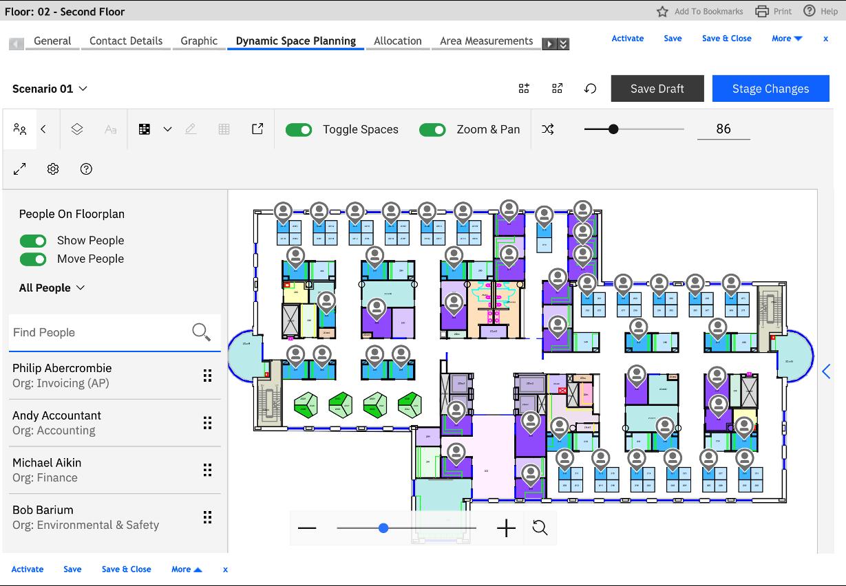 TRIRIGA Dynamic space planning dashboard