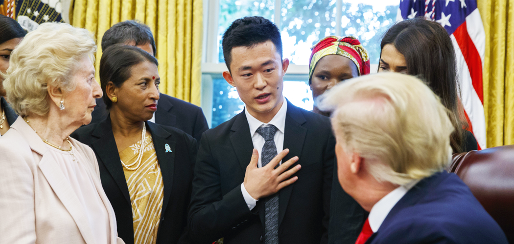 LiNK Advocacy Fellows North Korean Defector Ill Yong speaking to President Trump