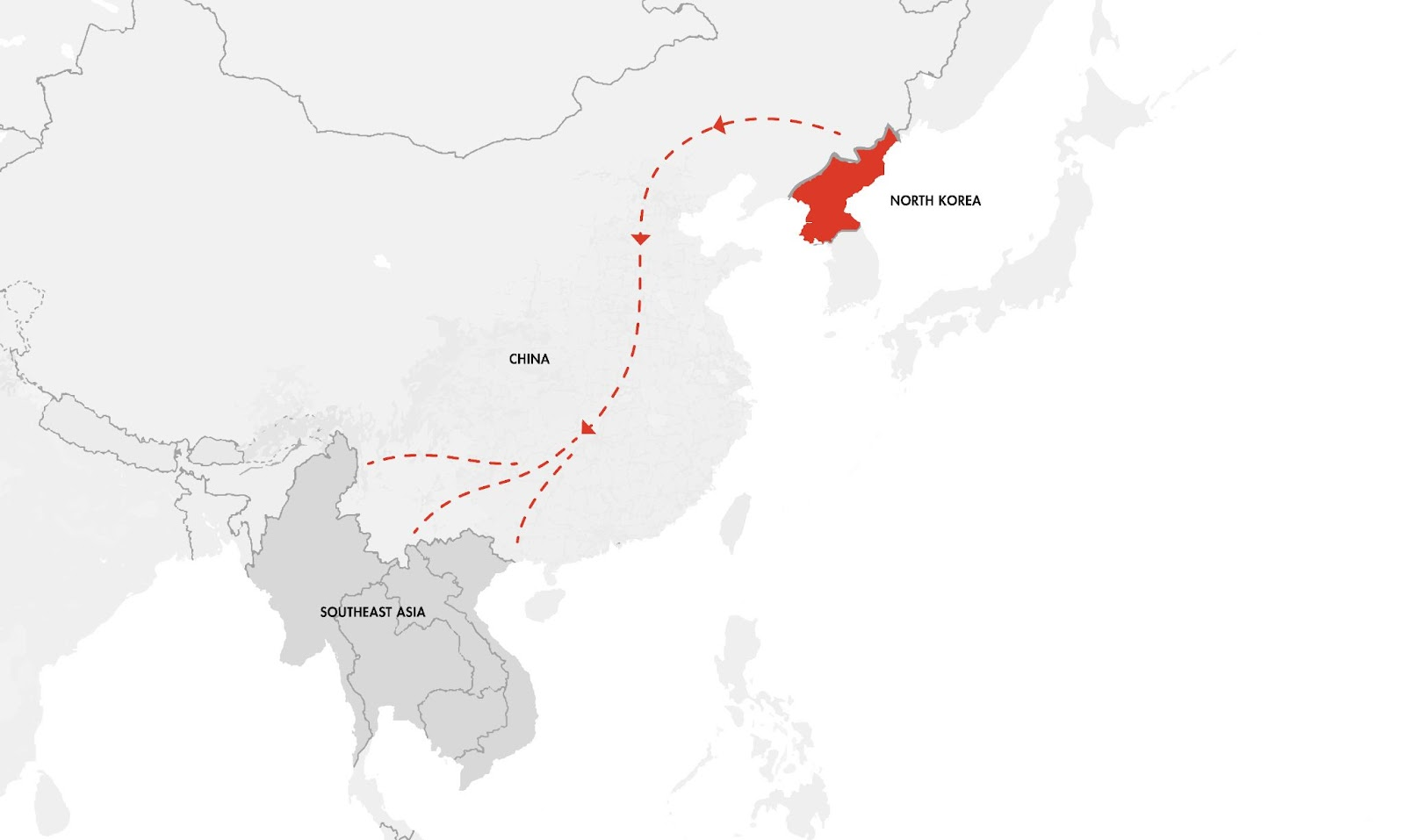 A map of the route through China and Southeast Asia that North Korean refugees travel to safety