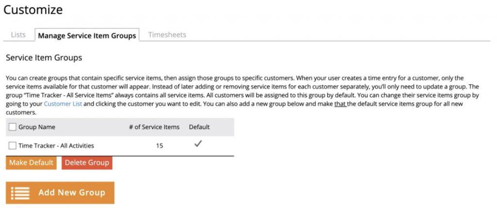 Customize Service Item Groups