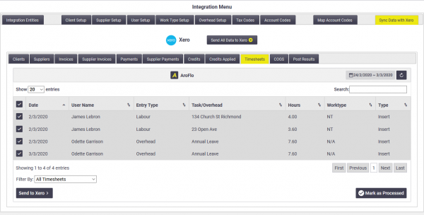 Office: Xero Timesheet Integration