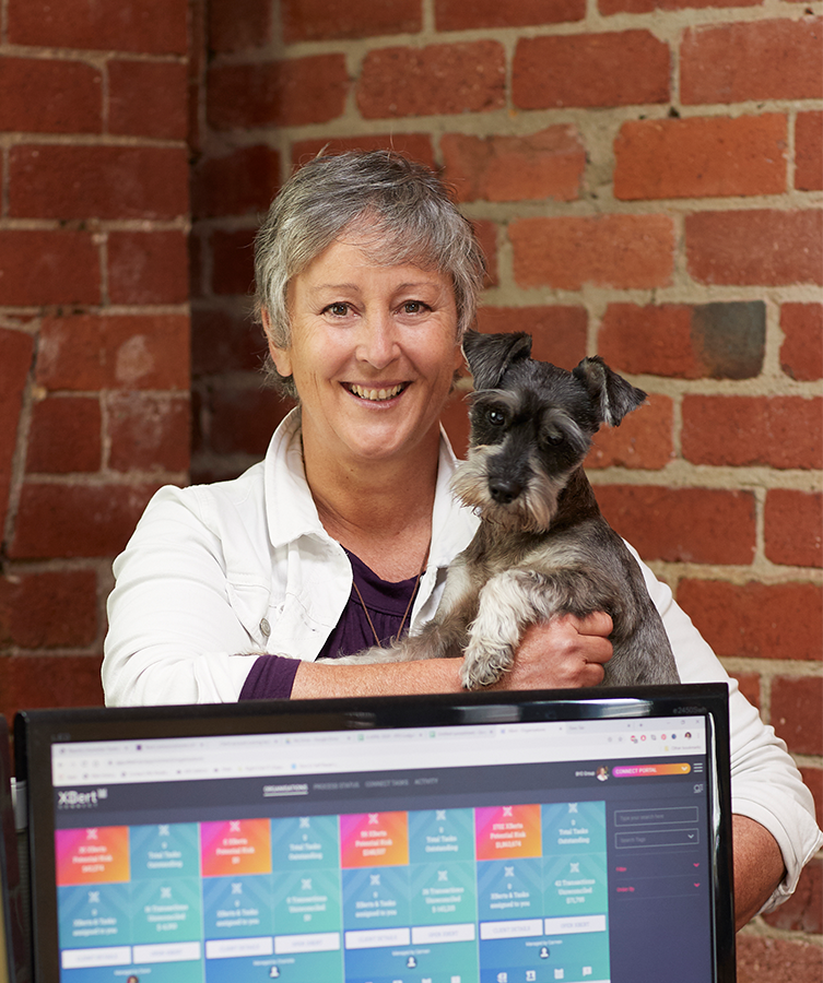 XBert customer Diane McCaffrey from bookkeeping practice BYO Group with her dog Tango.