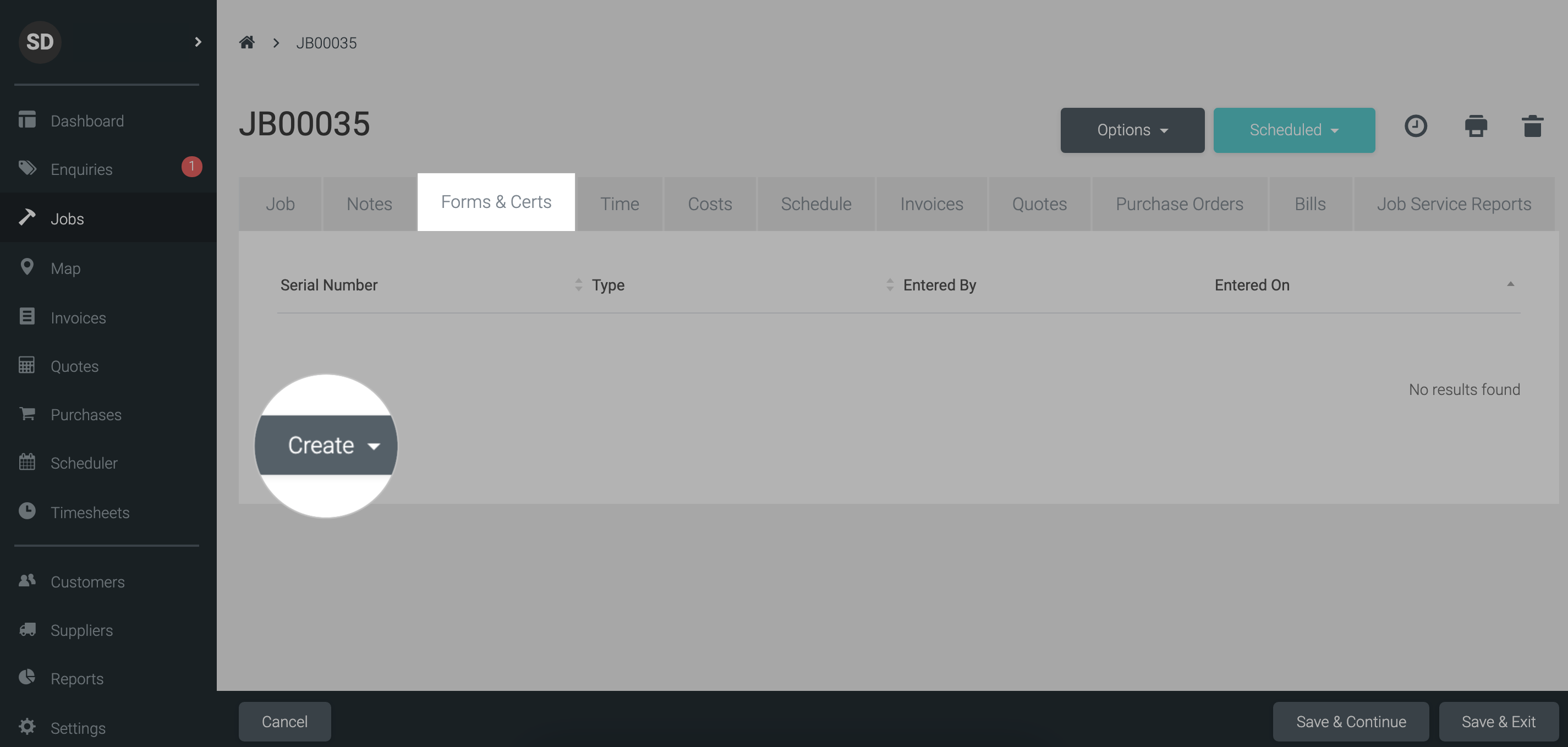 Forms and certs tab in tradify