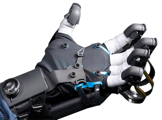 High-tech glove with finger, palm, and wrist attachments.