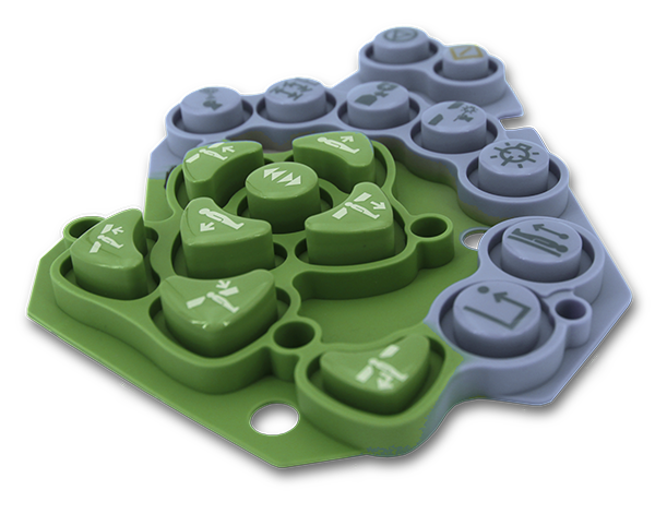 Complex molded silicone rubber keypad.