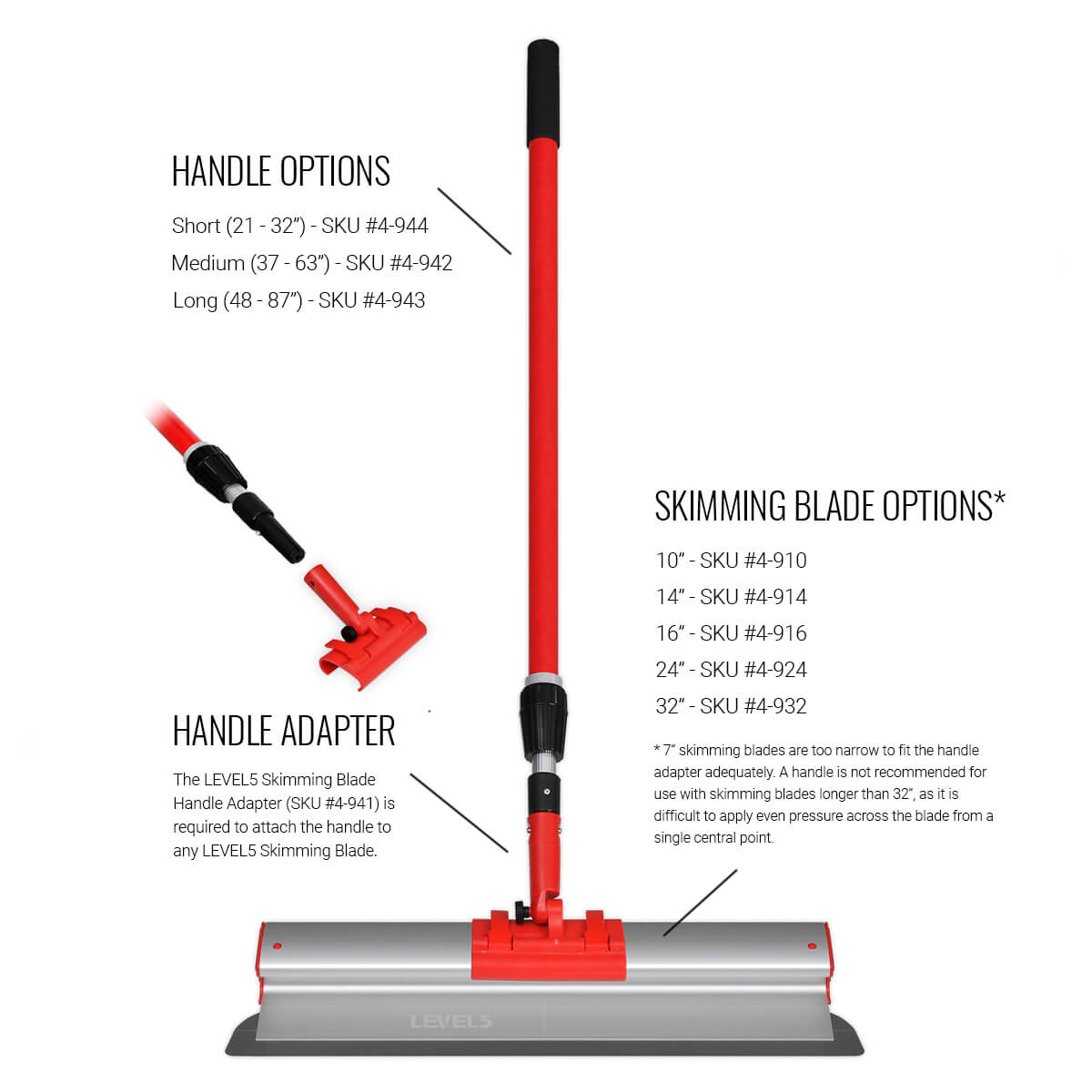 Use the adapter to attach a range of extendable handles to any LEVEL5 Skimming Blade.