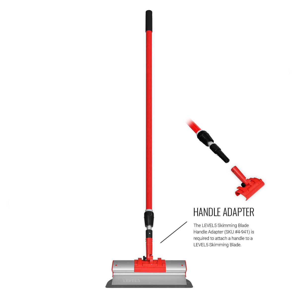 A handle adapter is required to attach an extendable handle to any LEVEL5 Skimming Blade.