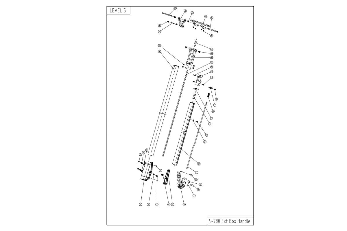 "LEVEL5 Flat Box Handle - Long Extendable (40 - 62"")"
