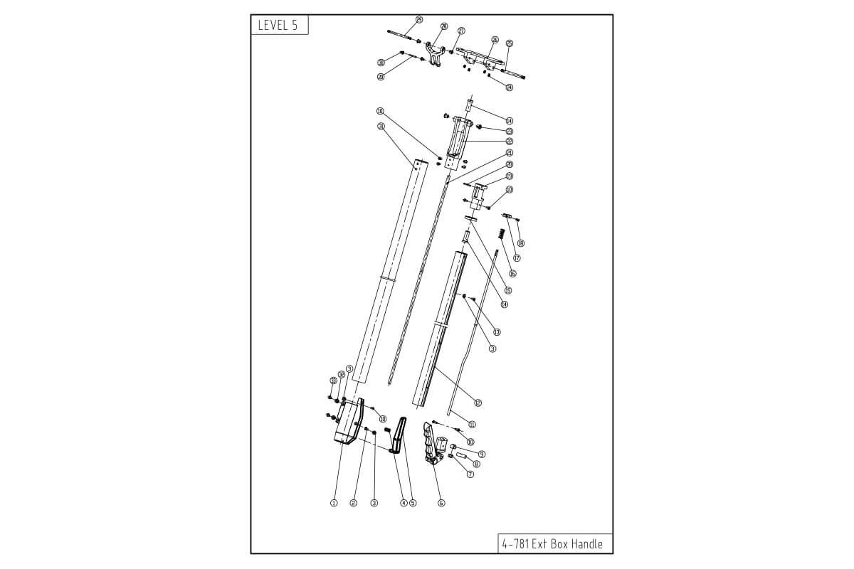 """LEVEL5 Flat Box Handle - Medium Extendable (30 - 42"""")"""