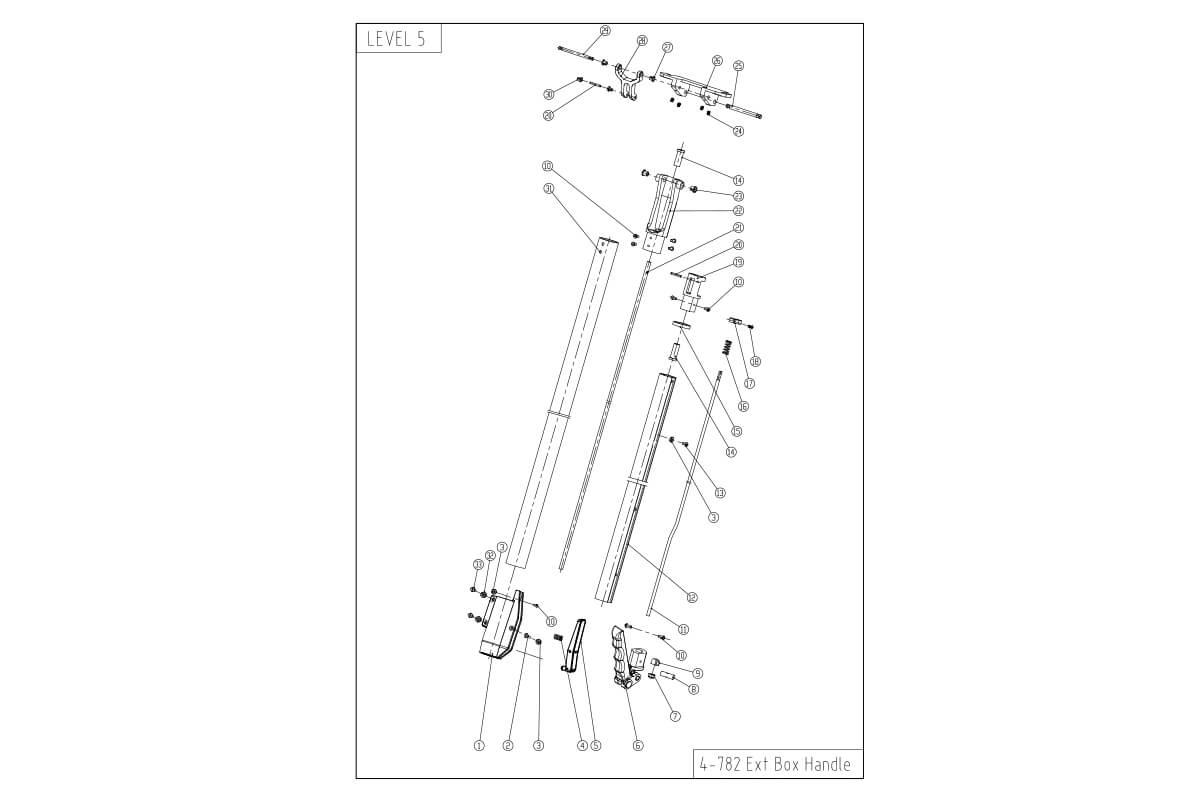 "LEVEL5 Flat Box Handle - Short Extendable (23 - 32"")"