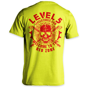 "LEVEL5 T-Shirt, ""Welcome to the Red Zone"", Safety Green, Design #3 