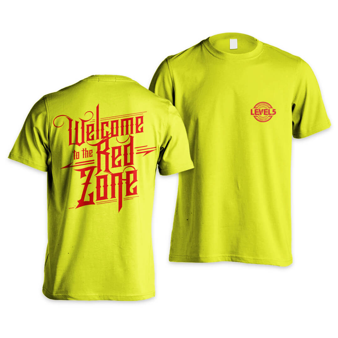 "LEVEL5 T-Shirt, ""Welcome to the Red Zone"", Safety Green, Design #2 