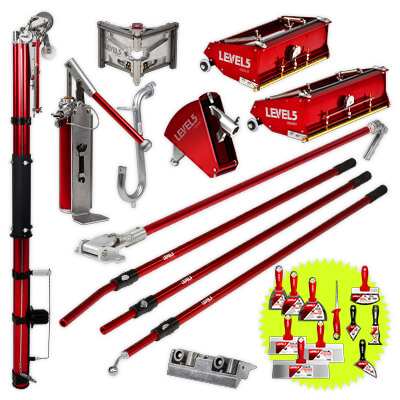 L5 Drywall Taping Tool Set w/ 10/12-Inch Flat Boxes & Handles | 4-600