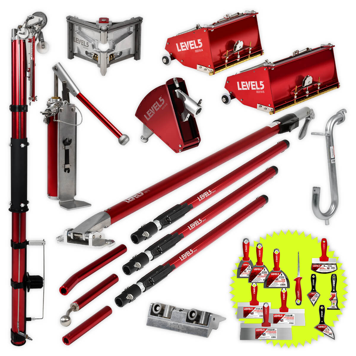 Drywall Taping Tool Set w/ 7/10-Inch MEGA Boxes & Ext. Handles | 4-611