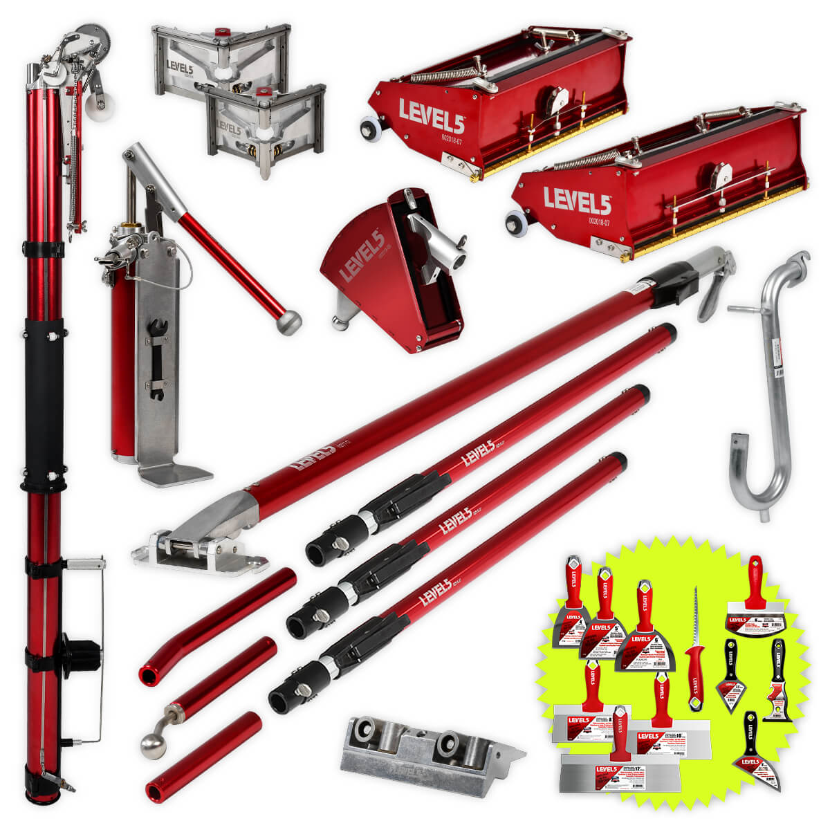 Drywall Taping Tool Set with 10/12 Inch Boxes & Ext. Handles | 4-621