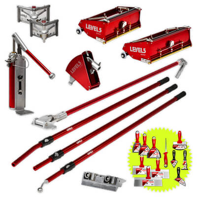 Professional LEVEL5 Drywall Finishing Tool Set with 10-Inch and 12-Inch Flat Boxes & Fixed Length Handles | 4-622