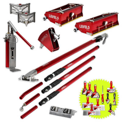 Professional LEVEL5 Drywall Finishing Tool Set with 10-Inch and 12-Inch Flat Boxes & Extendable Handles | 4-623