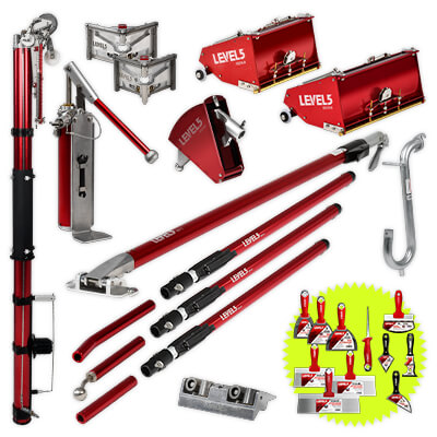 L5 Drywall Taping Tool Set with 10/12-Inch Boxes & Ext Handles | 4-625