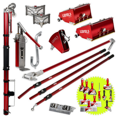 Professional LEVEL5 MEGA Drywall Taping Tool Set with 10-Inch and 12-Inch MEGA Flat Boxes & Fixed Length Handles    4-624