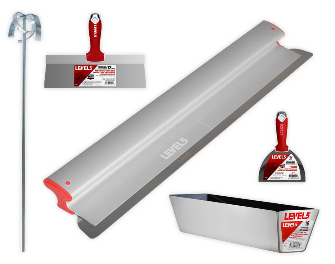 LEVEL5 Drywall Hand Tools for removing popcorn ceilings.