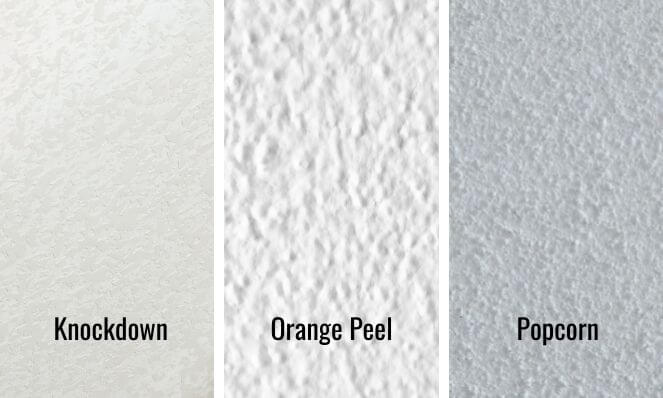 An image showing three different popcorn ceiling textures - Knockdown, Orange Peel and Popcorn from left to right.