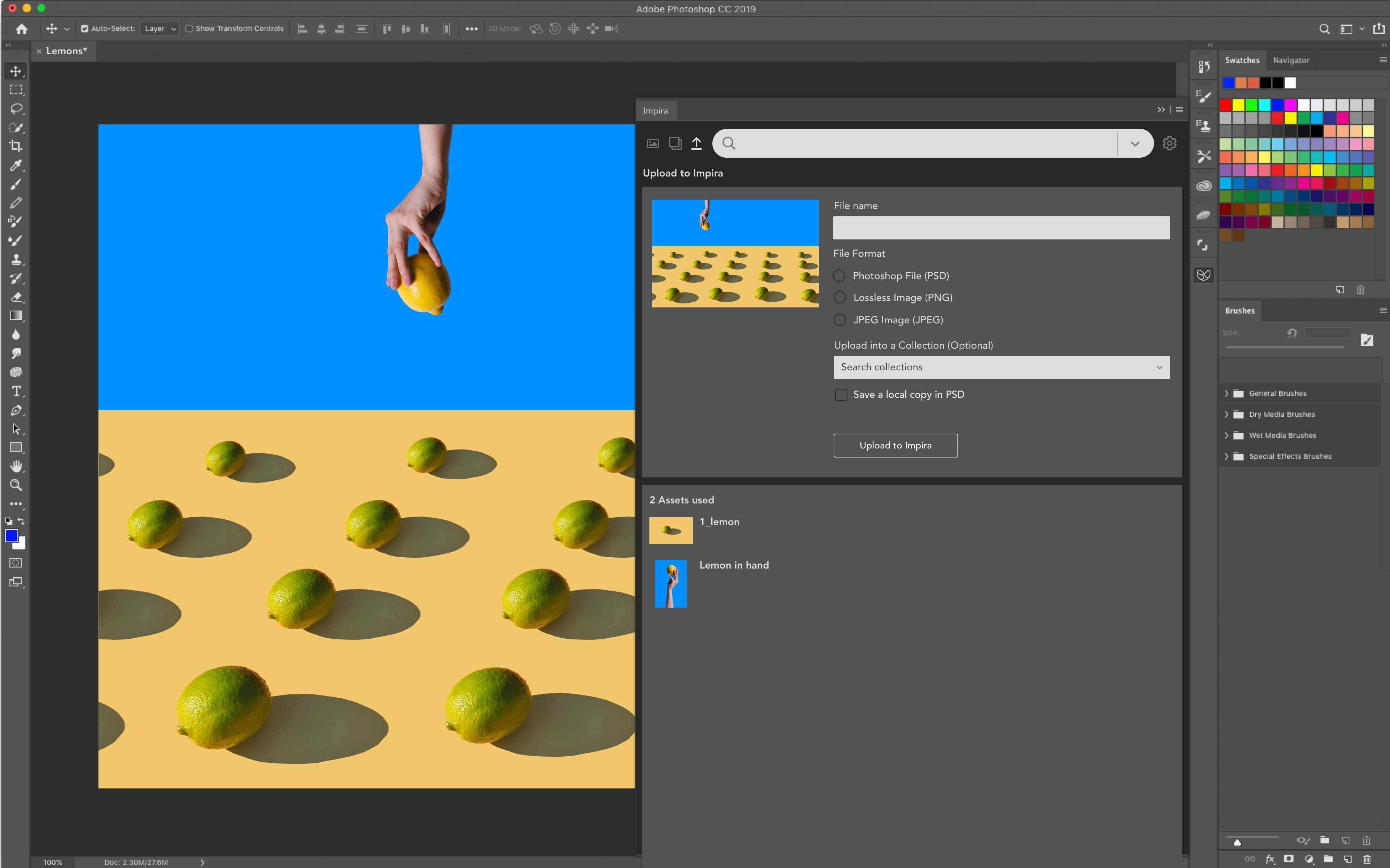 Impira's Photoshop plugin uploading a new assets linked to the original visual assets used.