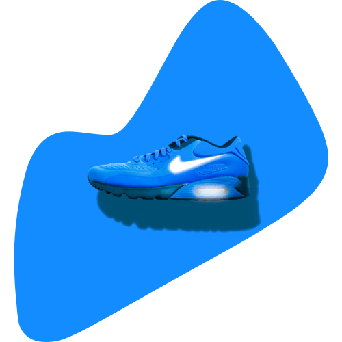 Blue Nike running shoe on a blue background