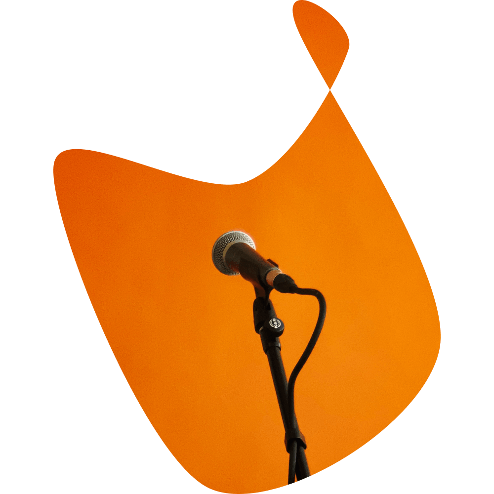 Microphone on an orange background