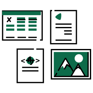 Illustration of a spreadsheet, pdf, JSON, and image