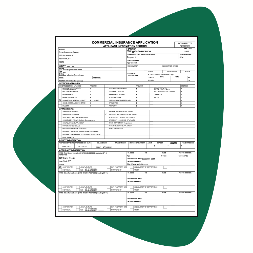 property loss form filled out with text highlighted.