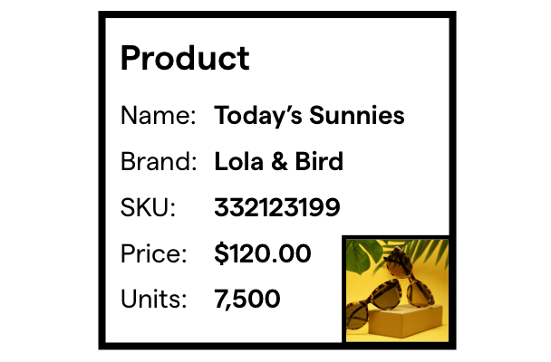 product information listed with a thumbnail of an image of sunglasses.