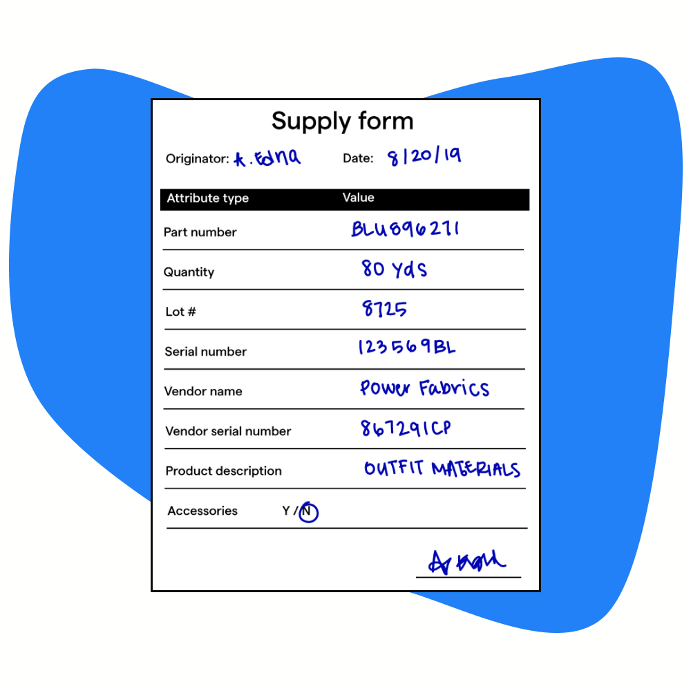 Supply request form for blue fabric