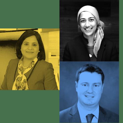 Headshot of 3 speakers on the panel: Ritu Jyoti of IDC, Sumaiya Balbale of Sequoia Capital, and Declan Roche of Colgate-Palmolive